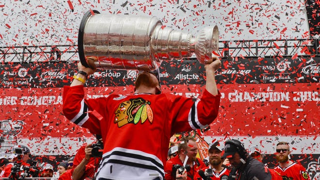 Marian Hossa won Stanley Cups with the Chicago Blackhawks in 2010, 2013 and 2015.
