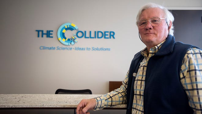 Philanthropist Mack Pearsall stands in the office of The Collider, a space for strategic solutions between science and business, on March 23.