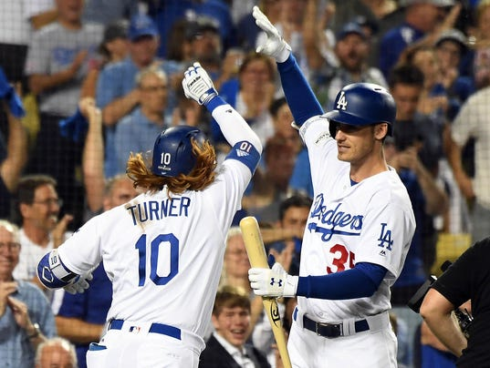Image result for Dodgers win 2017 NLCS