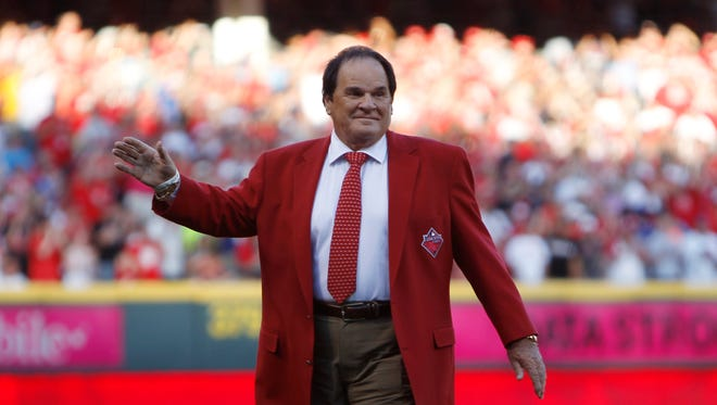 Pete Rose is honored prior to the 2015 MLB All-Star Game at Great American Ball Park.