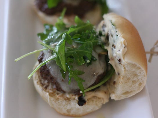 Summertime slider with sundried tomato mayo and lightly