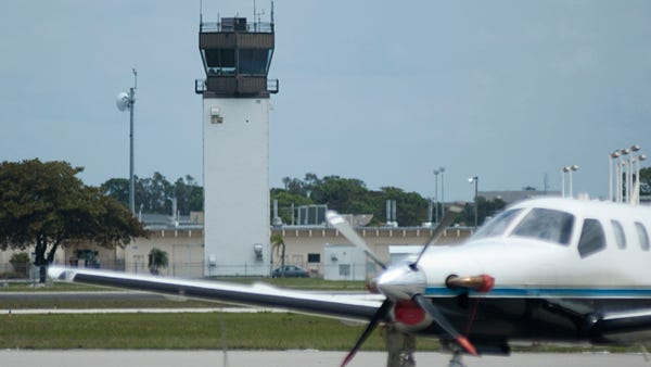 The air-traffic control tower at Page field.