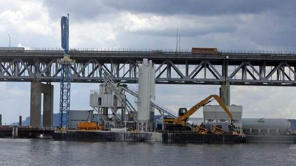 The floating concrete plant being used in the construction of the replacement of the Tappan Zee Bridge, photographed Thursday. The concrete plant is presently being used near the Tarrytown side of the bridge.