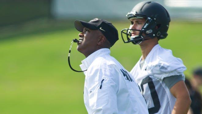 Purdue University football coach Darrell Hazell.