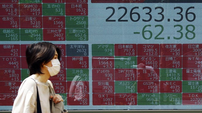 A woman walks past an electronic stock board showing Japan's Nikkei 225 index at a securities firm in Tokyo Friday, June 5, 2020. Asian markets are mostly lower after Wall Street rally takes a breather, as investors parse unemployment data.