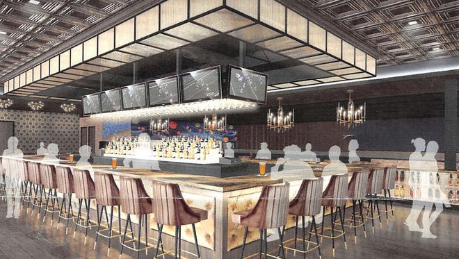 A rendering of Sky Lanes, the bowling alley and lounge taking over the second floor of the former Livewire venue.