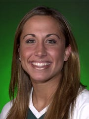 Andrea Vellinga (formerly Voss) shown in her Wright State University volleyball photo.