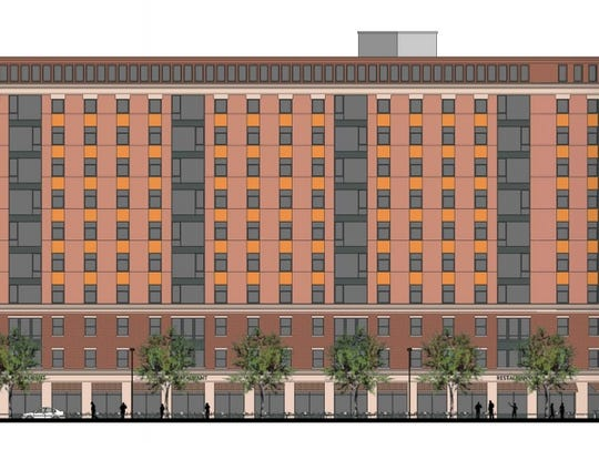A schematic of the proposed apartment building in downtown