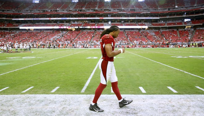 Arizona Cardinals wide receiver Larry Fitzgerald (11) during their  NFL game against the Tampa Bay Buccaneers Sunday, Sept. 18, 2016 in Glendale  Ariz.
