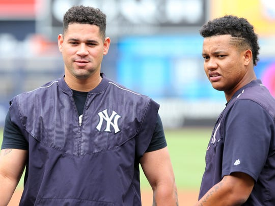 Sanchez and second baseman Starlin Castro on the field during batting practice before a game against the Boston Red Sox at Yankee Stadium.