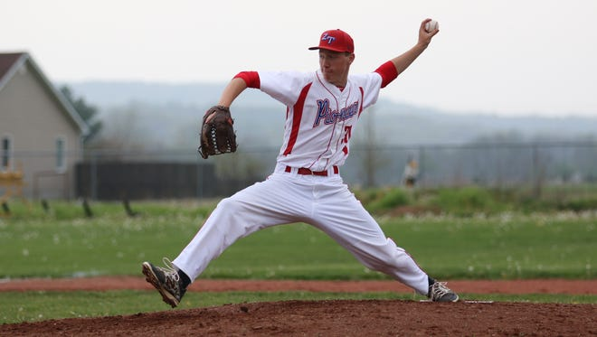 Zane Trace's Jeremy Brooks throws against Adena in Frankfort, April 27, 2016. Brooks finished the regular season with a perfect 8-0 pitching record.