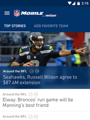 A screenshot of the NFL Mobile app on a smartphone.