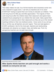 This screenshot shows Smyrna Mayor Mary Esther Reed's Facebook post responding to state Rep. Mike Sparks, R-Smyrna, position about teacher pay.