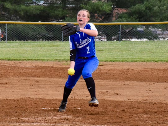 Fort Defiance ptcher Hannah Shoemaker delivers a pitch during the Indians' game against Stoarts Draft on Wednesday, April 27, 2016, in Stuarts Draft.