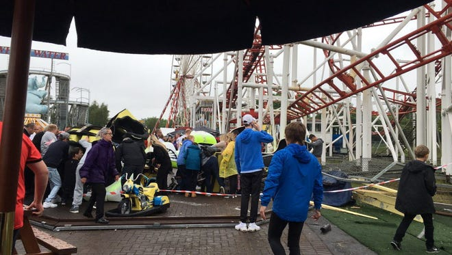 """Photos posted by Demi Campbell on her Twitter account of roller coaster accident at M&Ds in Motherwell, North Lanarkshire, Scotland on June 26, 2016. Campbell posted the following comment: """"In shock at what I've just witnessed in M&Ds. Hope everyone is safe."""""""