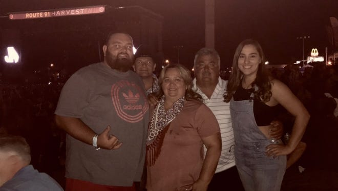 From left to right, Brandon, Tina, Bobby and Brianna Gatlin, at the Route 91 musical festival in Las Vegas about 30 minutes before the shooting began.