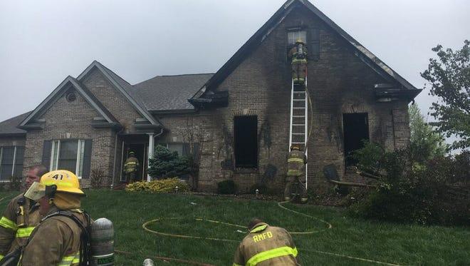 Rural/Metro firefighters battled a blaze at 7410 Dovington Drive on Monday, April 23, 2018.