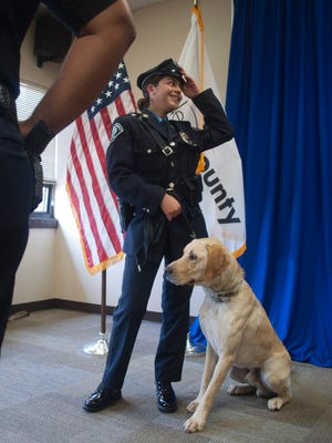 Camden County Police K-9 officer Gabrielle Camacho and her partner Peyton were introduced Friday.