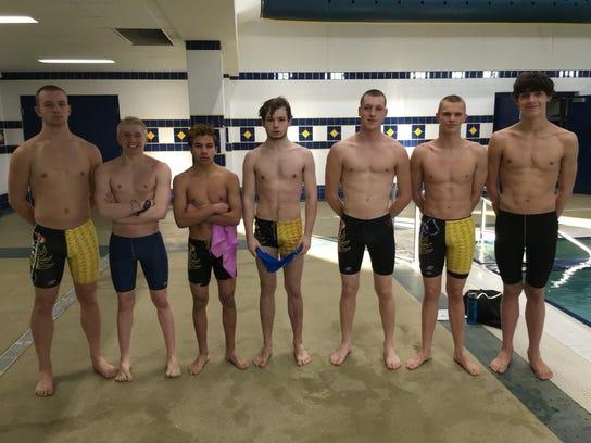 The Brillion/Valders/Chilton boys swimming team will