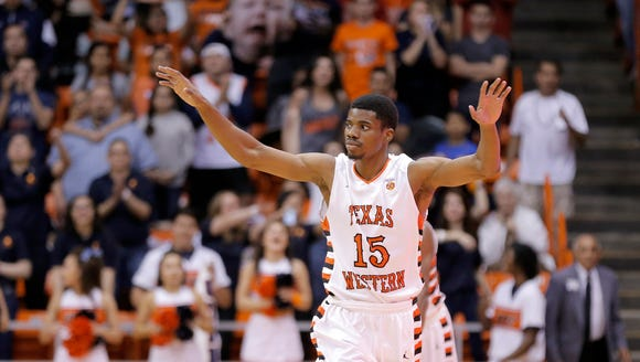 UTEP senior guard Tevin Caldwell runs down court after