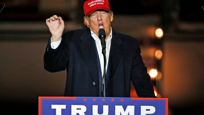 Donald Trump speaks at a Pittsburgh rally on the Sunday before his election.