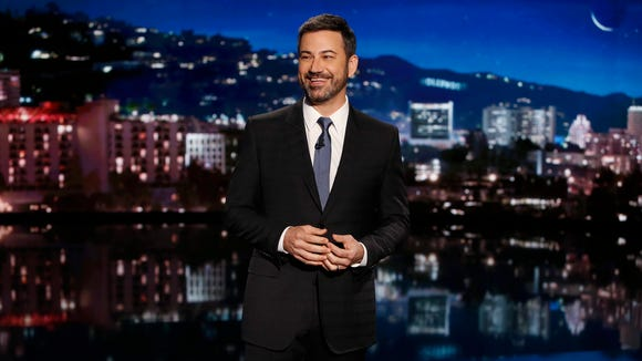 "In this May 11, 2017 file photo, host Jimmy Kimmel appears during a taping of ""Jimmy Kimmel Live,"" in Los Angeles."