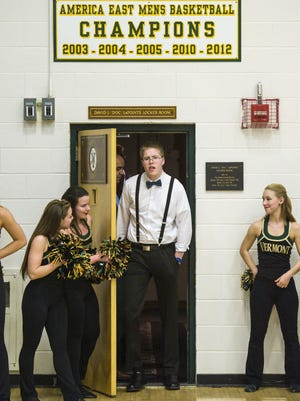 Josh Speidel Emerges from the University of Vermont's locker room before the start of the game against Stony Brook in Burlington on Saturday at Patrick Gym.GLENN RUSSELL/FREE PRESS