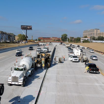 Construction on the Tower Grove interchange project in October 2013.