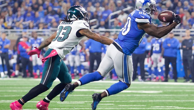 Oct 9, 2016; Detroit, MI, USA; Detroit Lions wide receiver Anquan Boldin (80) catches a pass against Philadelphia Eagles cornerback Ron Brooks (33) during the first quarter at Ford Field. Mandatory Credit: Raj Mehta-USA TODAY Sports