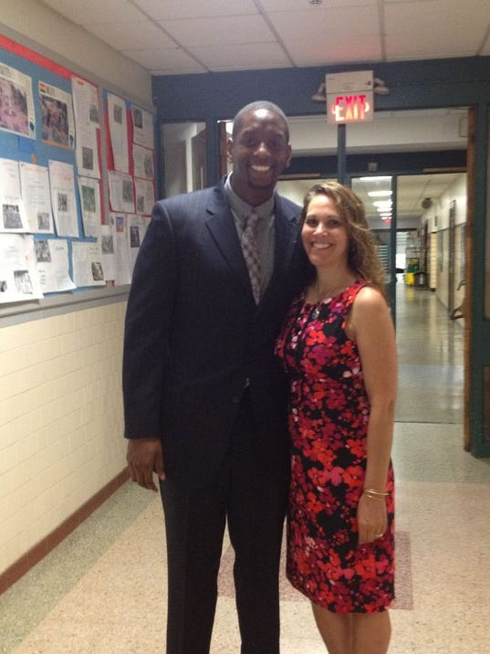 Farid Johnson, left, is the new Assistant Principal at Hillside Elementary. He's pictured with Principal Laura Sullivan. (Photo submitted)