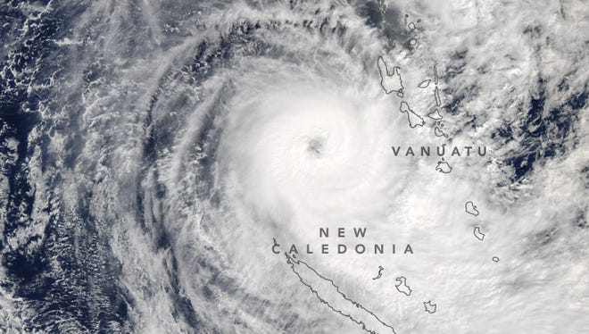 Tropical Cyclone Donna spins in the South Pacific near the islands of New Caledonia and Vanuatu on May 8, 2017.