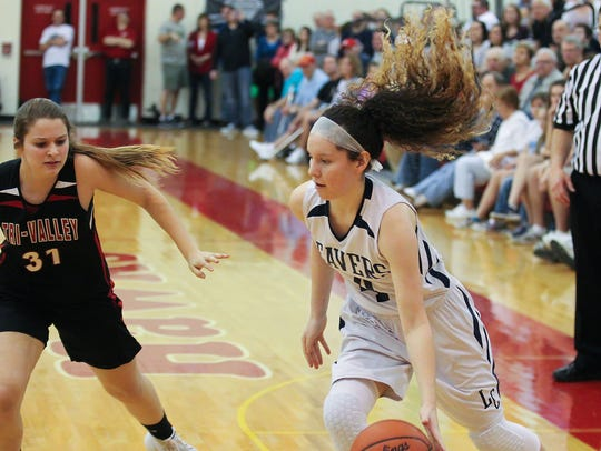 Lebanon Catholic's Mariah Sholly drives to the basket