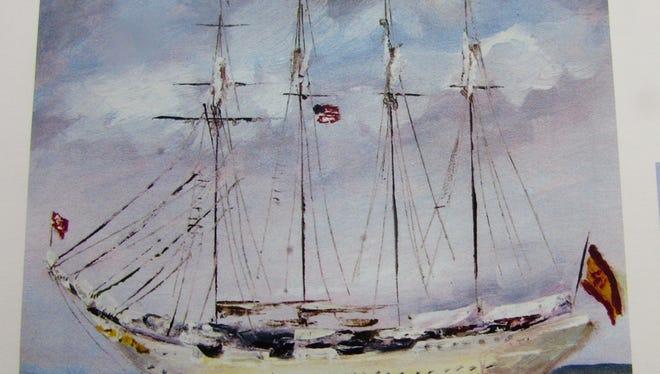 Nina Fritz' painting of the Elcano.