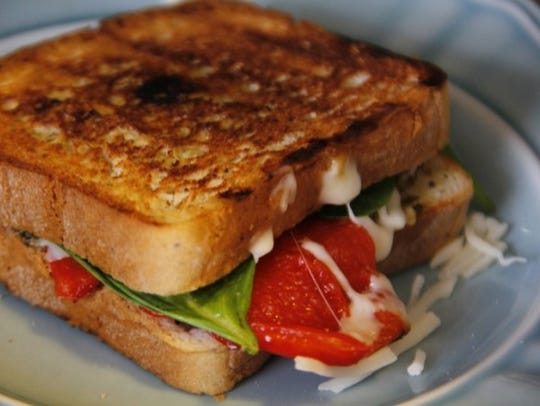 Red Pepper and Pesto Grilled Cheese sandwich.