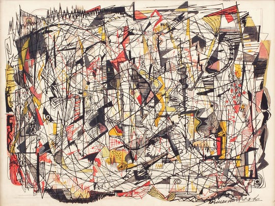 Norman Lewis, 'Roller Coaster,' is a 1946 Opaque watercolor, ink, and crayon on board creation.