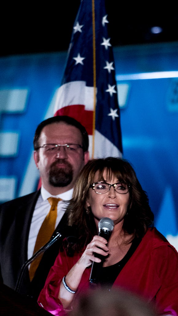 Sarah Palin and Sebastian Gorka speak at a rally supporting Roy Moore for the U.S. Senate seat from Alabama on Thursday September 21, 2017 at Union Station in Montgomery, Ala. (Mickey Welsh / Montgomery Advertiser)