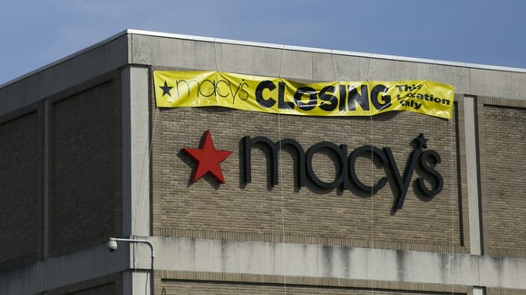 """A sign reading """"Macy's Closing This Location Only"""""""