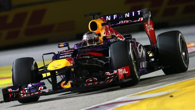 Sebastian Vettel of Germany drives during the Singapore Formula One Grand Prix at Marina Bay Street Circuit on Sept. 22.