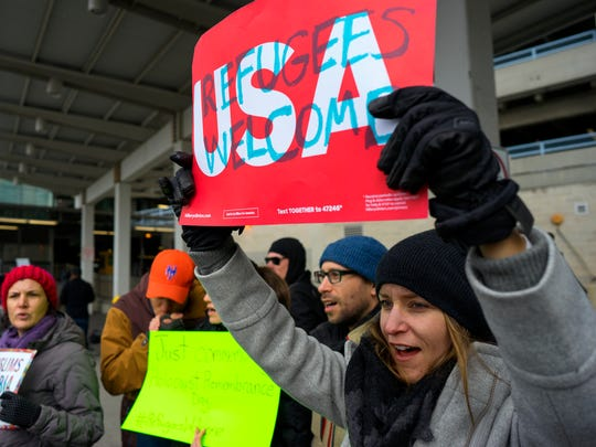 Protesters assemble at John F. Kennedy International Airport in New York, Saturday, Jan. 28, 2017 after two Iraqi refugees were detained while trying to enter the country. On Friday, Jan. 27, President Donald Trump signed an executive order suspending all immigration from countries with terrorism concerns for 90 days. Countries included in the ban are Iraq, Syria, Iran, Sudan, Libya, Somalia and Yemen, which are all Muslim-majority nations.