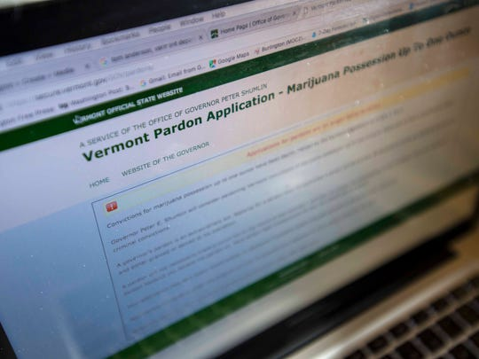 The online application for a pardon for a marijuana conviction on Gov. Peter Shumlin's website is seen on Thursday, December 29, 2016.