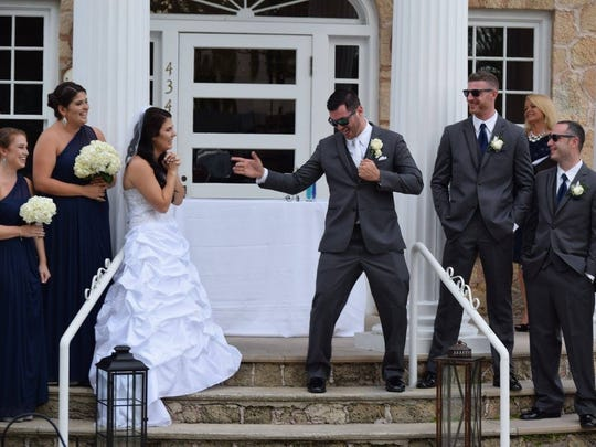 Peter Sciacca lip-synced his wedding vows to his new bride, Jenna, on their wedding day.