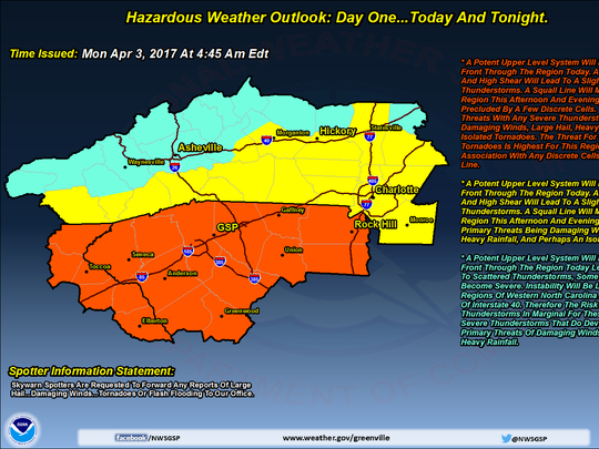 A National Weather Service forecast predicts severe thunderstorms Monday.