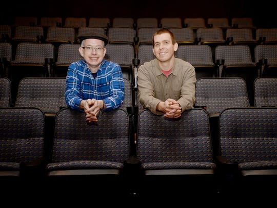 Asheville movie guys Bruce Steel, left, and Edwin Arnaudin at the Fine Arts Theatre in downtown Asheville January 23, 2017.