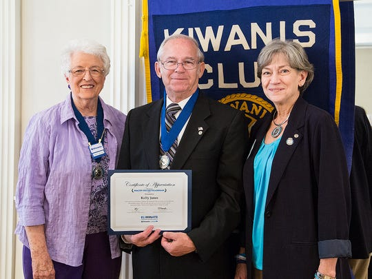 Kelly Jones, of the Kiwanis Club of Abilene, recently received the Zeller Fellow Award in recognition of his support of the Kiwanis International Eliminate Project. He is pictured with Kiwanis Club of Abilene president Nancy Miller and Francine Eikner, TX-OK District Coordinator for the Kiwanis Eliminate Project.
