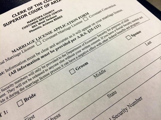 Marriage-license application forms in Mesa have been