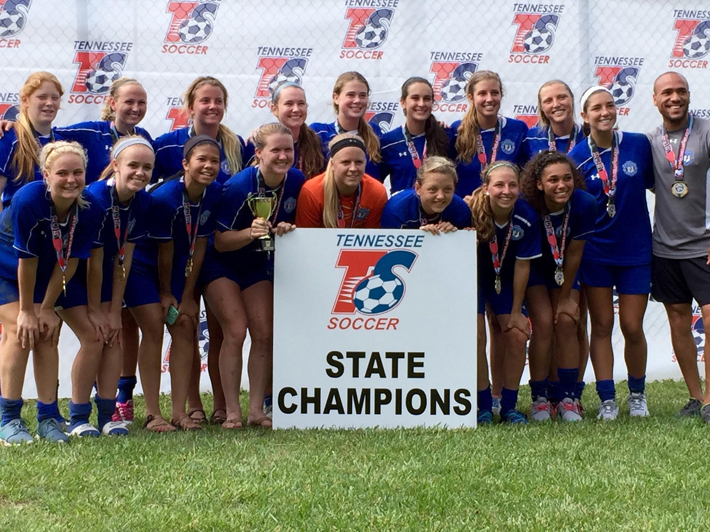 The Murfreesboro Lady Strikers 97 won the Under-18 Division 2 Tennessee state championship May 31 at Richard Siegel Soccer Complex. Team members include, front row from left, are Izzy Huddleston (Coffee County), Becca Kelley (Lebanon), Anastasia Wellington (Tullahoma), Sierra Franz (Smyrna), Katie Collins (Oakland), Kenzie Wrather (Smyrna), Colleen Kennedy (Blackman), Zoe Phillips (Blackman) and back from left, Kaitlyn McBrien (Lebanon), Chelsey Russom (Siegel/Trevecca), Callie Ruf (Siegel), Megan Woods (Blackman), Emma Adcock (Siegel), Becca Mullendore (Siegel), Madeline Rose (Oakland), Hailey Puckett (Shelbyville), Cori Steinagle (Siegel) and coach Jordan Salisbury.