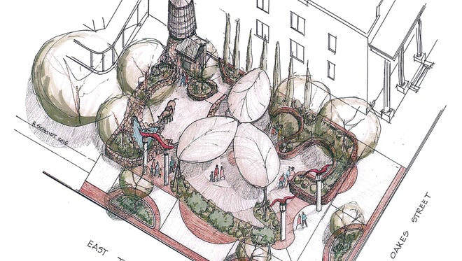 Artist rendering of the pocket park planned for East Twohig Avenue and South Oakes Street.
