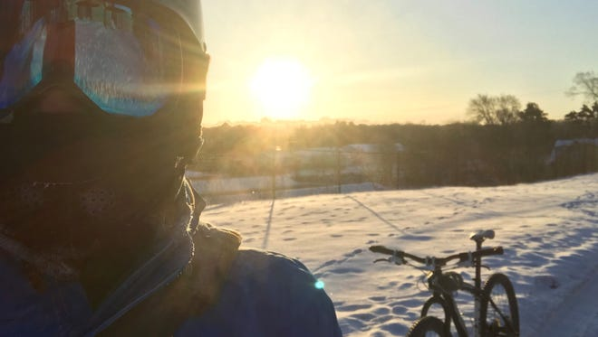 It was 14 below zero when I took this selfie. I was not comfortable on this bike ride, despite wearing nearly everything I own.
