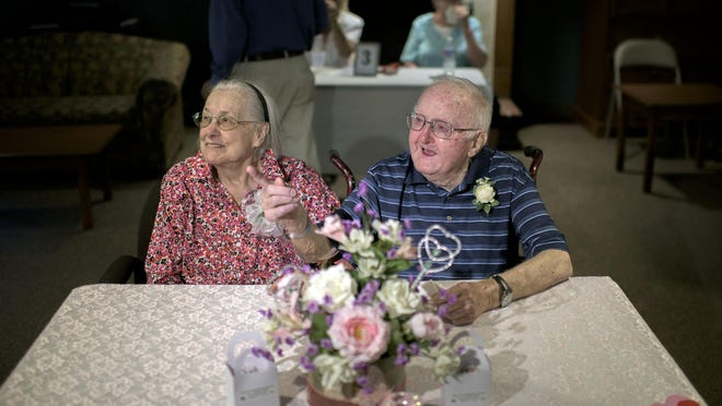 Betty and Tom Miller celebrate their 75th anniversary at a surprise party Saturday in Lindenwold.