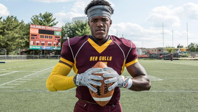 Salisbury University wide receiver Isaiah Taylor of Baltimore is shown at Sea Gull Stadium.